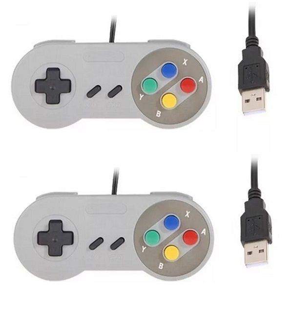 Kit 2 Controles Usb Super Nintendo Famicom Windows Mac Lnux