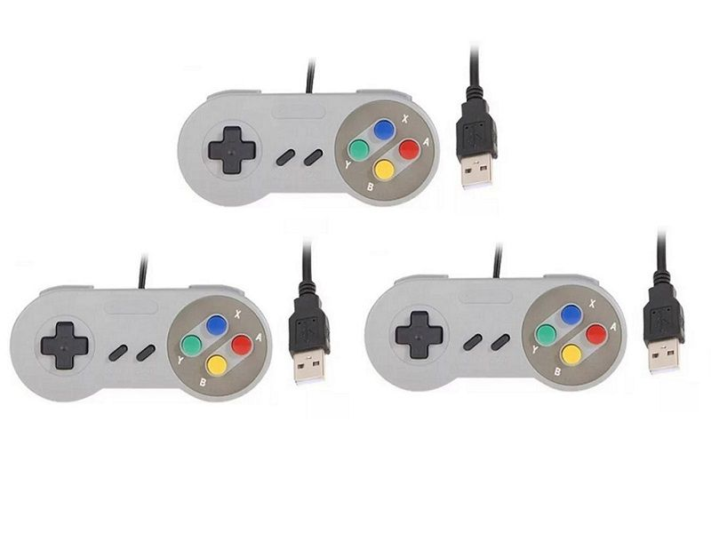 Kit 3 Controles Usb Super Nintendo Famicom Windows Mac Lnux