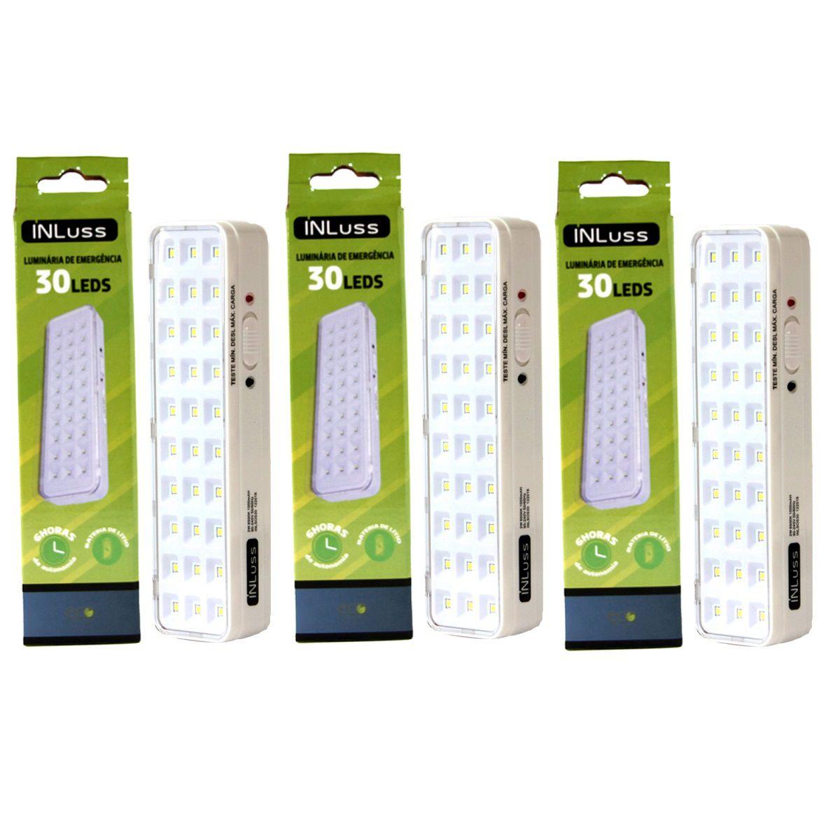 Kit 3 Luminária de Emergência 30 Led Branco Frio Bivolt