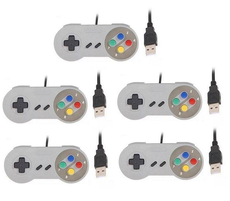 Kit 5 Controles Usb Super Nintendo Famicom Windows Mac Lnux