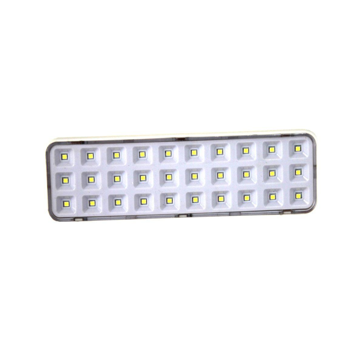 Kit 5 Luminária de Emergência 30 Led Branco Frio Bivolt