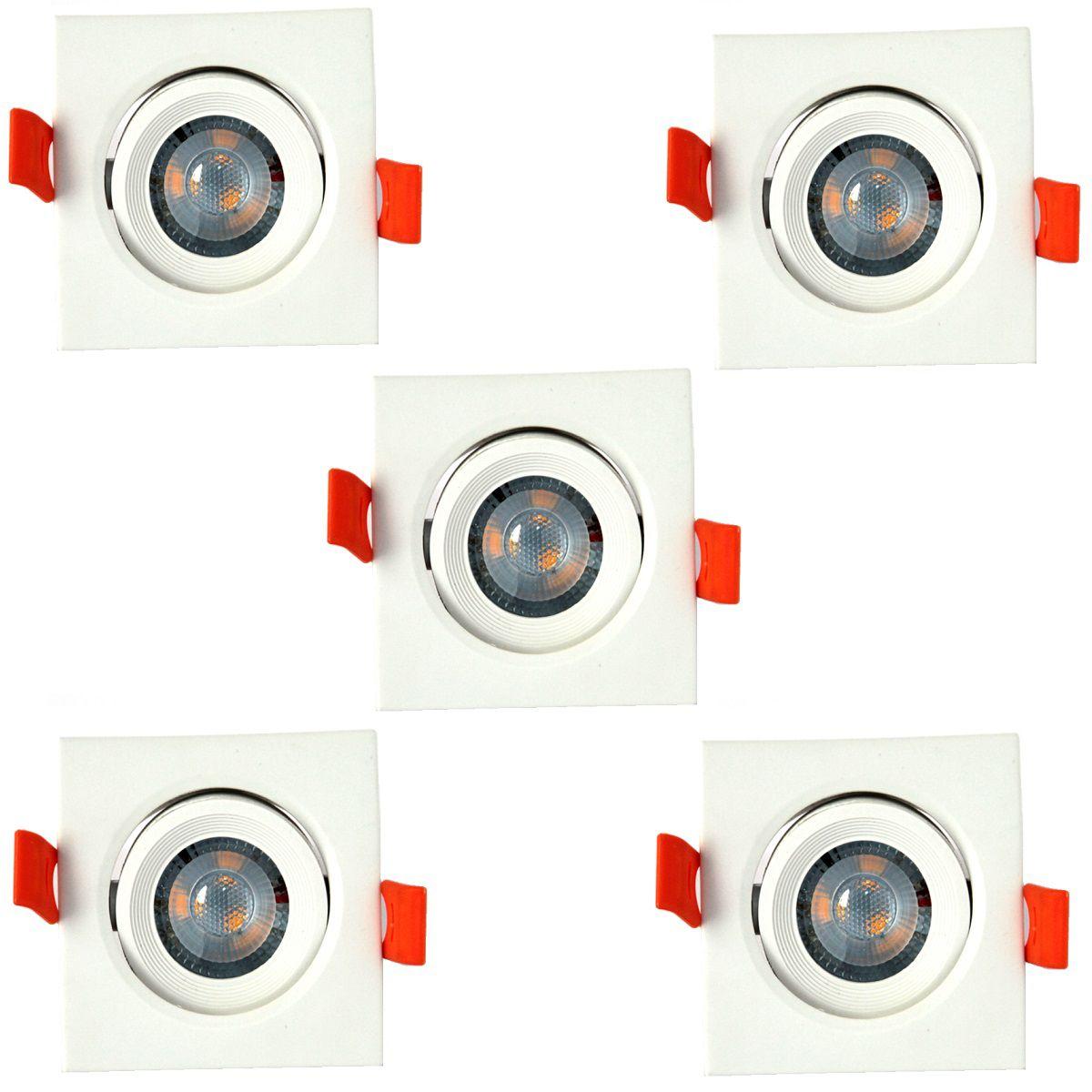 Kit 5 Spot Led Direcionável Quadrado 3W Branco Morno Bivolt