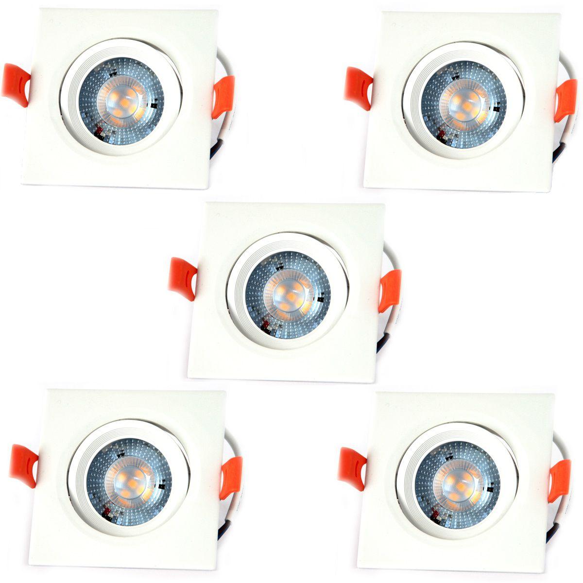 Kit 5 Spot Led Direcionável Quadrado 5W Branco Morno Bivolt