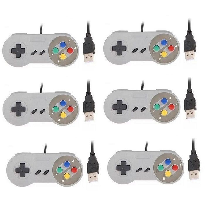 Kit 6 Controles Usb Super Nintendo Famicom Windows Mac Lnux