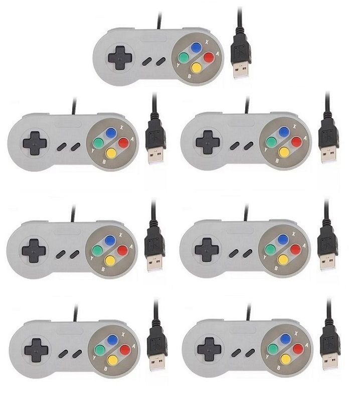 Kit 7 Controles Usb Super Nintendo Famicom Windows Mac Lnux