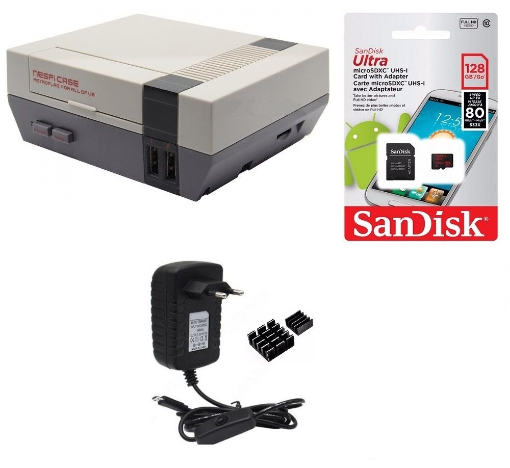 Kit Acessórios P/ Raspberry Pi 3 - 128gb  Case Retroflag Nespi
