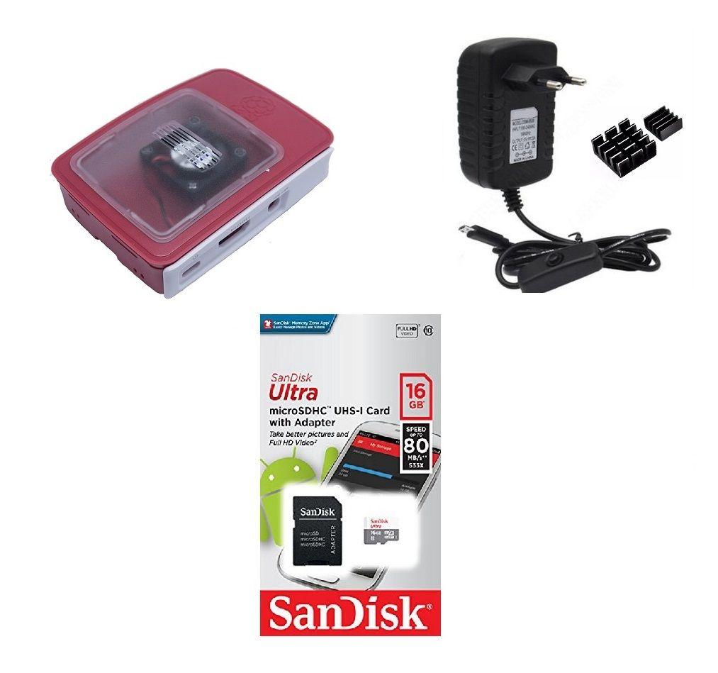 Kit Acessórios P/ Raspberry Pi 3 - 16gb Case Official C/ Cooler