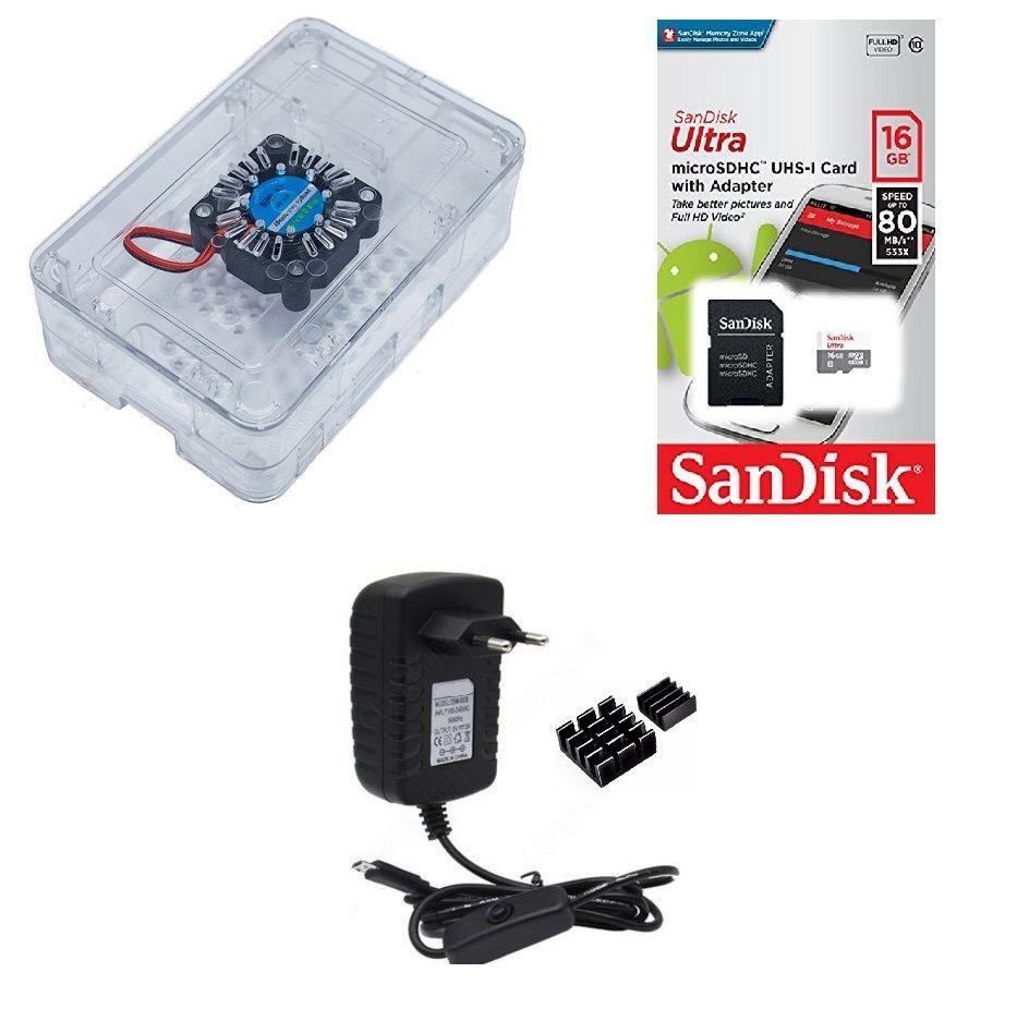 Kit Acessórios P/ Raspberry Pi 3 - 16gb Case Premium C/ Cooler