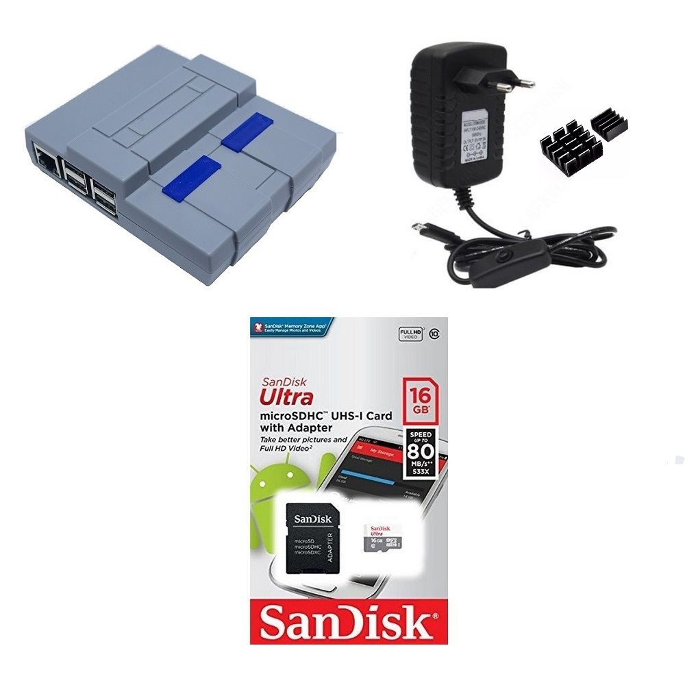 Kit Acessórios P/ Raspberry Pi 3 - 16gb Case Snes