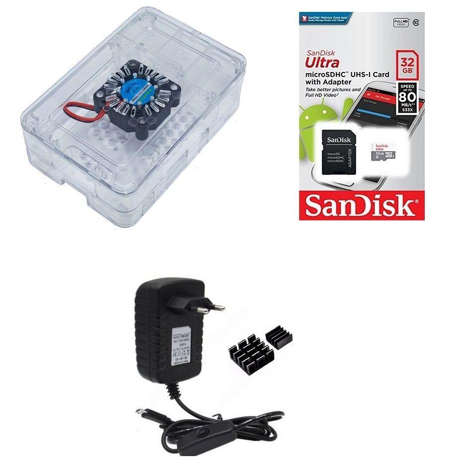 Kit Acessórios P/  Raspberry Pi 3 - 32gb Case Premium Cooler