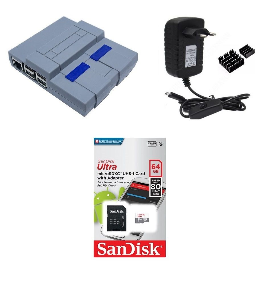 Kit Acessórios P/ Raspberry Pi 3 - 32gb Case Snes
