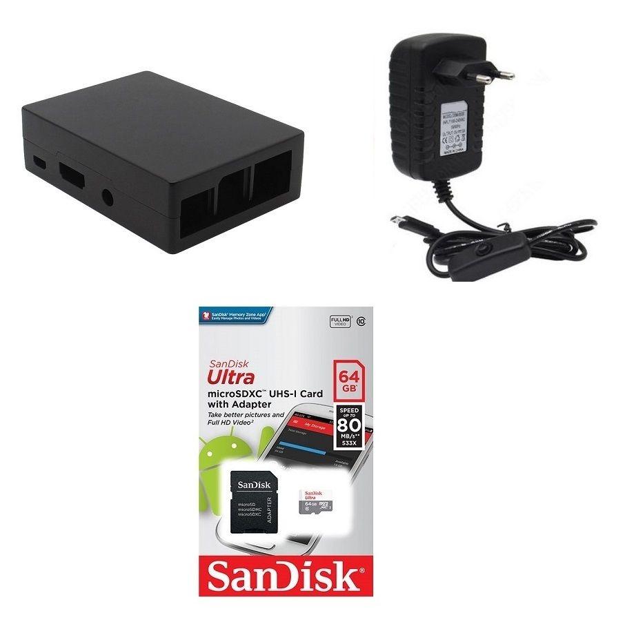 Kit Acessórios P/ Raspberry Pi 3 - 64gb Case Alumínio