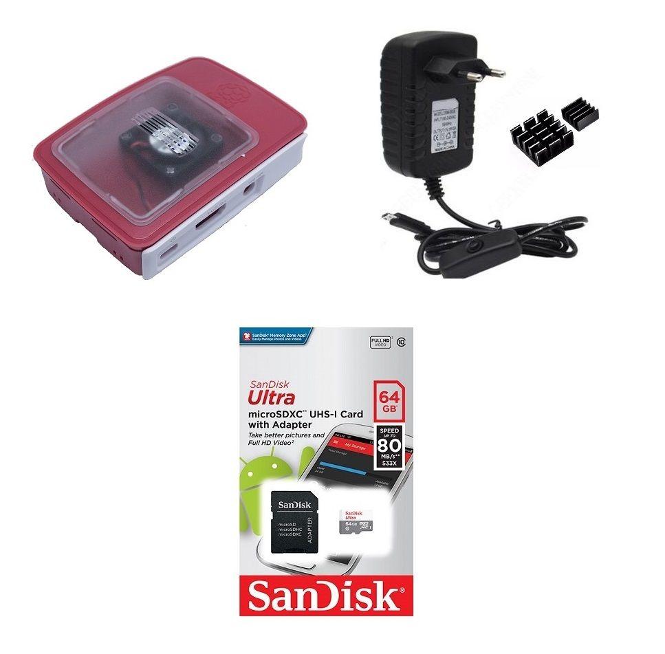 Kit Acessórios P/ Raspberry Pi 3 - 64gb Case Official C/ Cooler