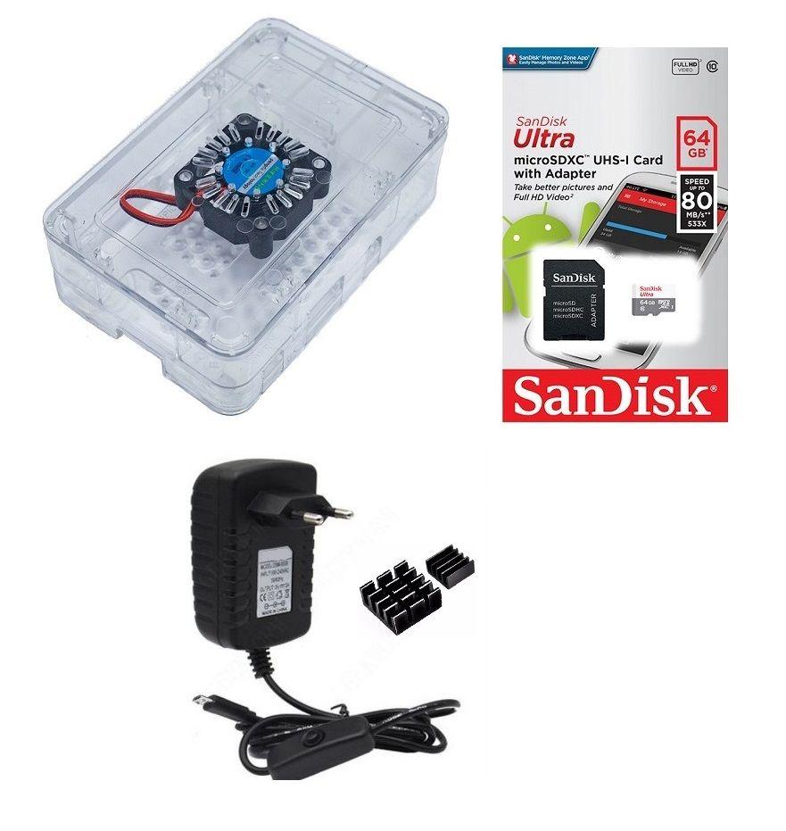 Kit Acessórios P/ Raspberry Pi 3 - 64gb Case Premium Com Cooler