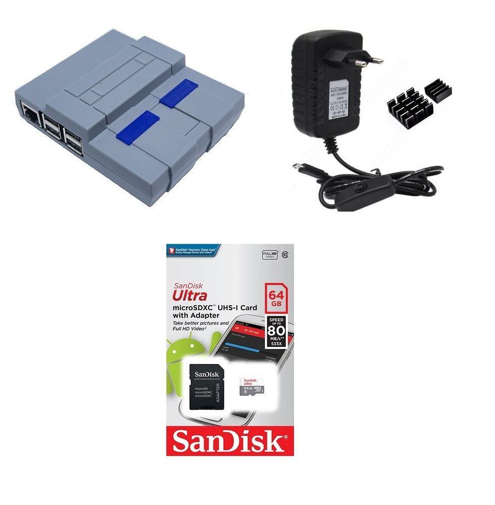 Kit Acessórios P/ Raspberry Pi 3 - 64gb Case Snes