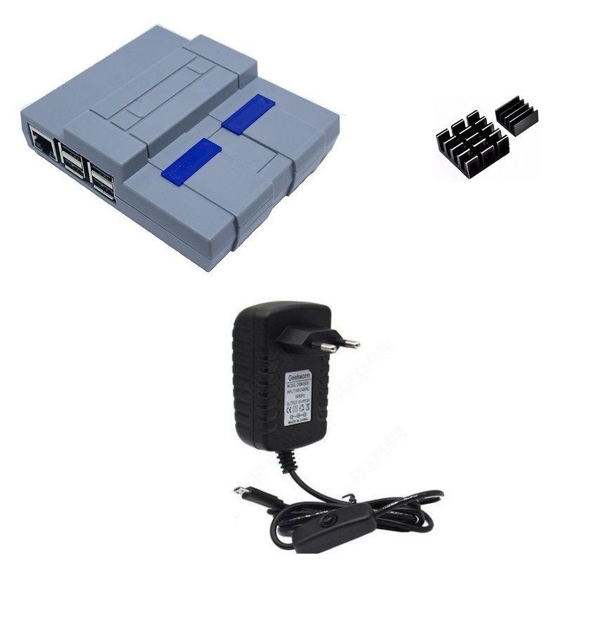 Kit Acessórios P/ Raspberry Pi 3 - Case Snes