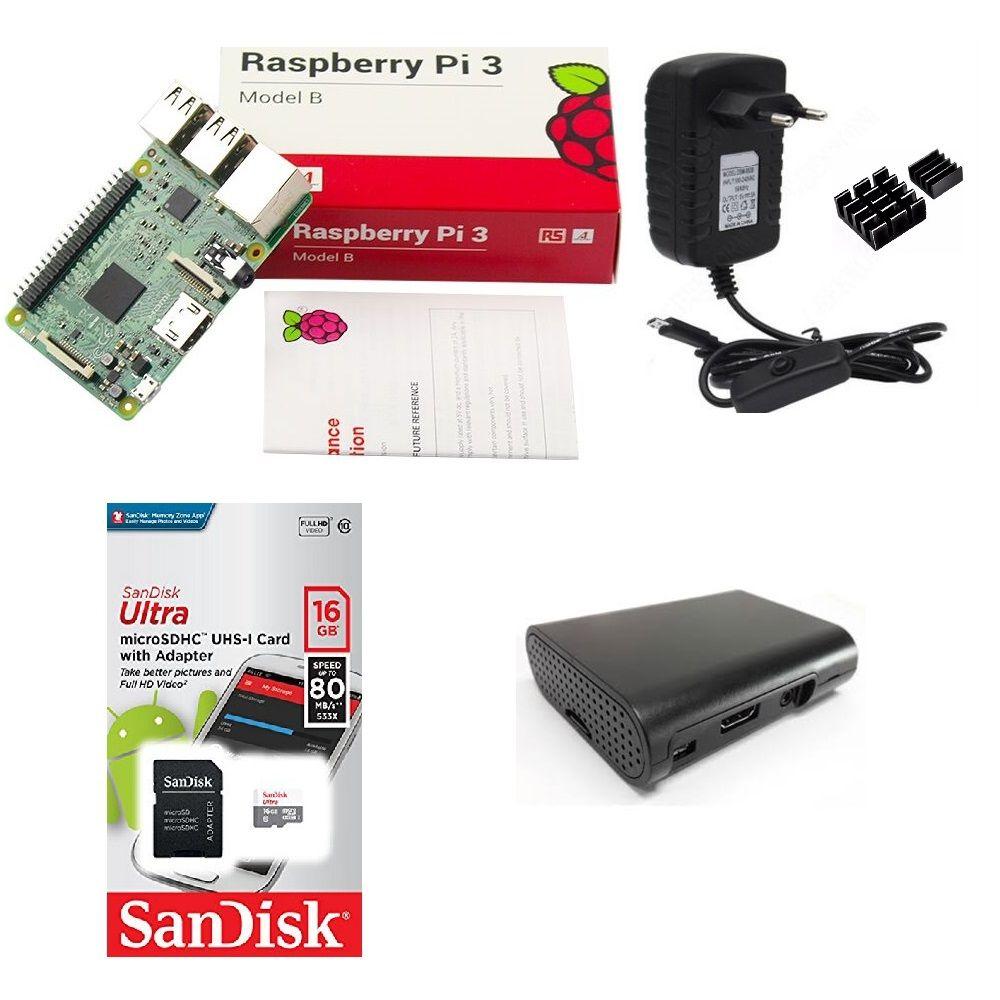 Kit Básico Raspberry Pi 3 - 16gb Case Black