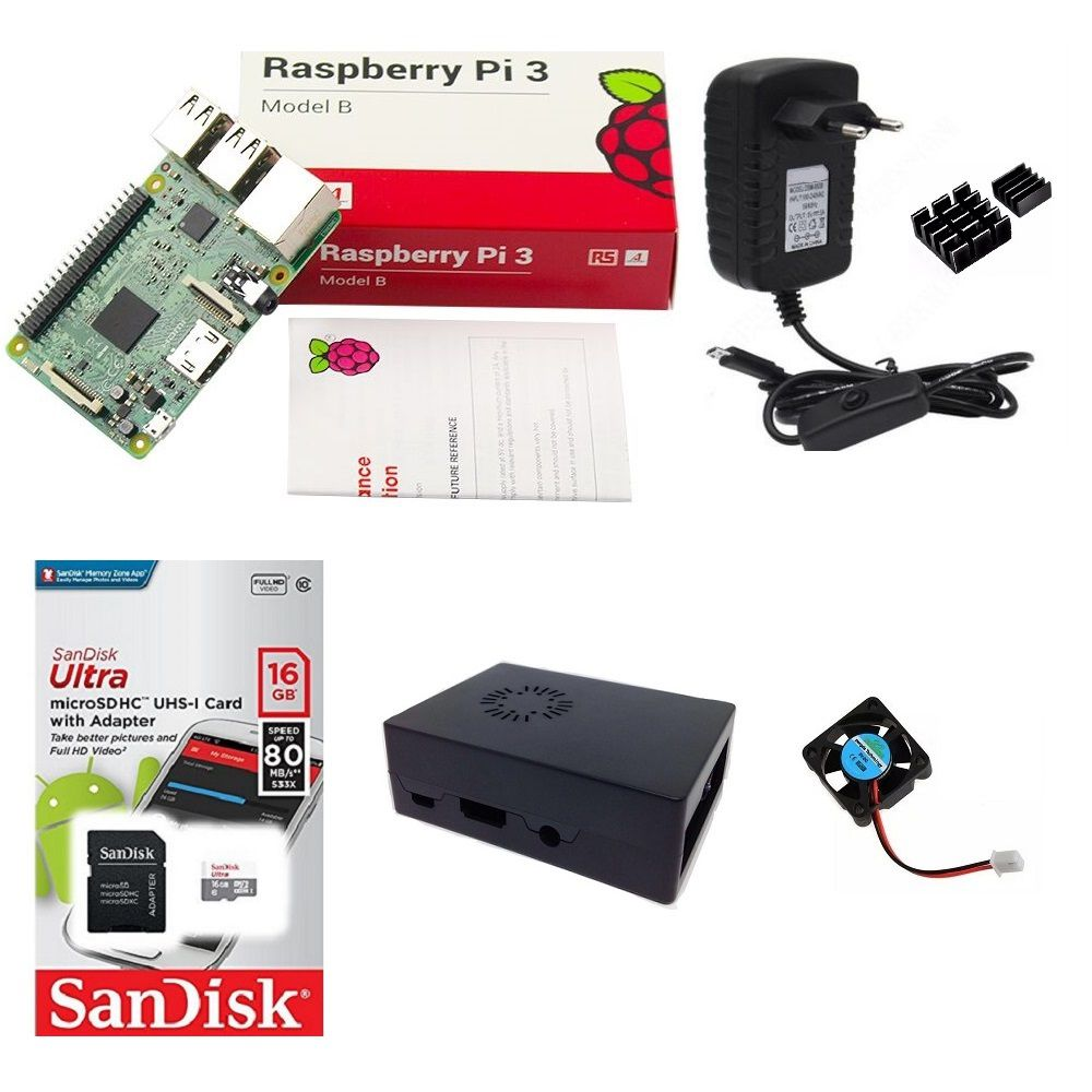Kit Básico Raspberry Pi 3 - 16gb Case Com Cooler