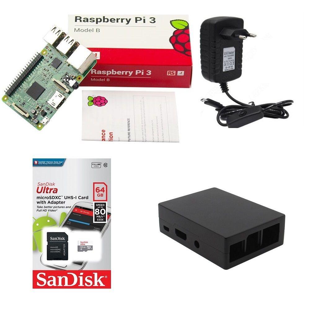 Kit Básico Raspberry Pi 3 - 64gb Case Alumínio