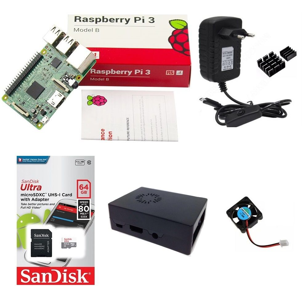 Kit Básico Raspberry Pi 3 - 64gb Case Com Cooler