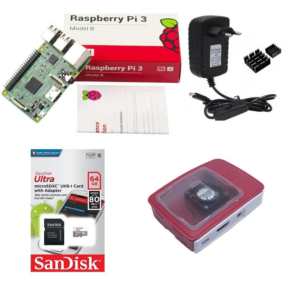 Kit Básico Raspberry Pi 3 - 64gb Case Official C/ Cooler