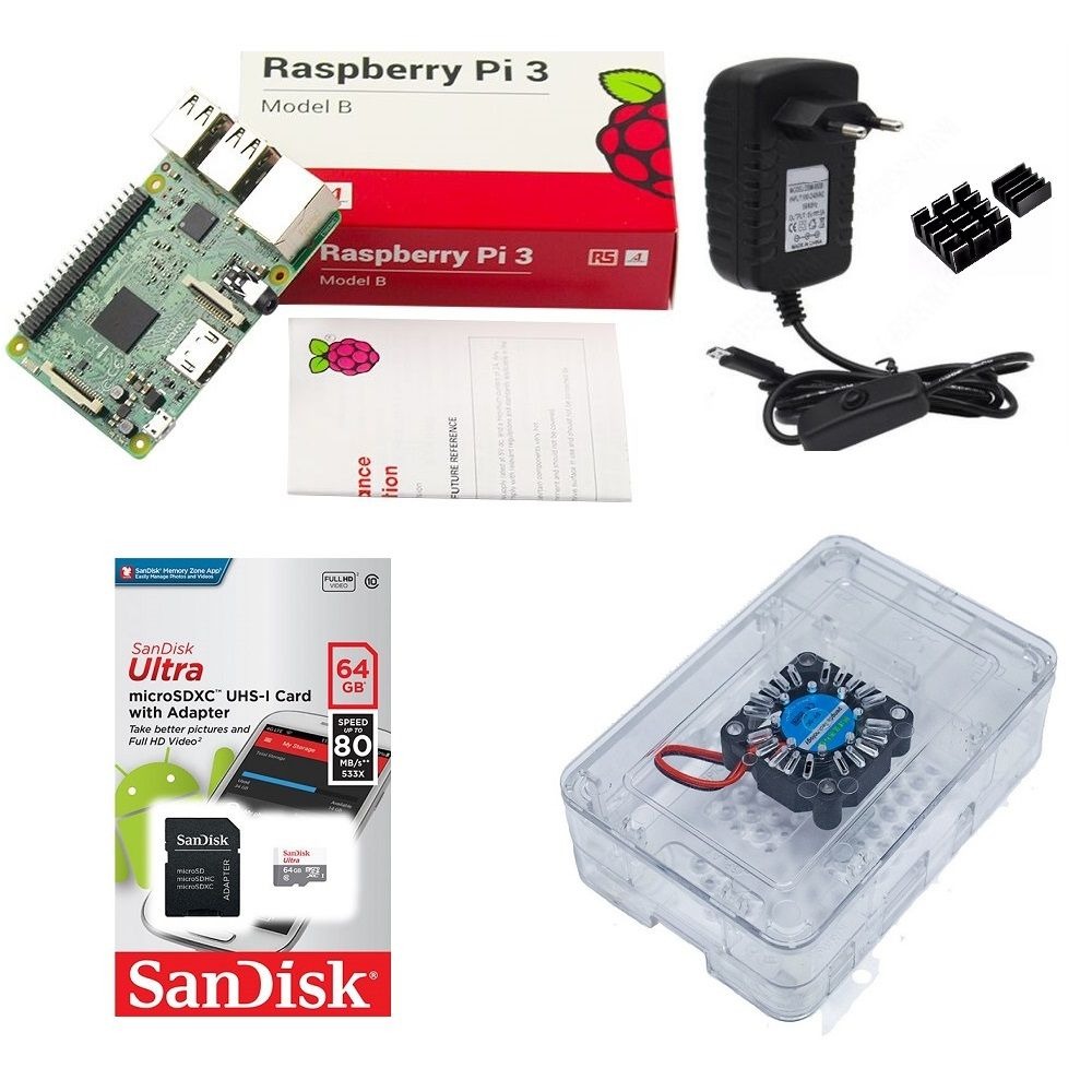Kit Básico Raspberry Pi 3 - 64gb Case Premium Com Cooler