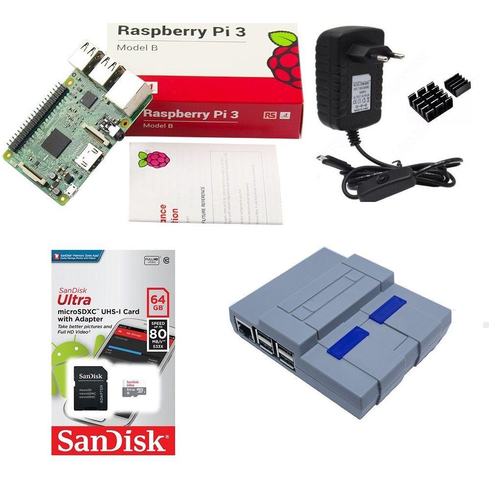Kit Básico Raspberry Pi 3 - 64gb Case Snes