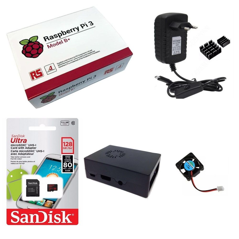 Kit Básico Raspberry Pi 3 B+ Plus - 128gb Case Com Cooler