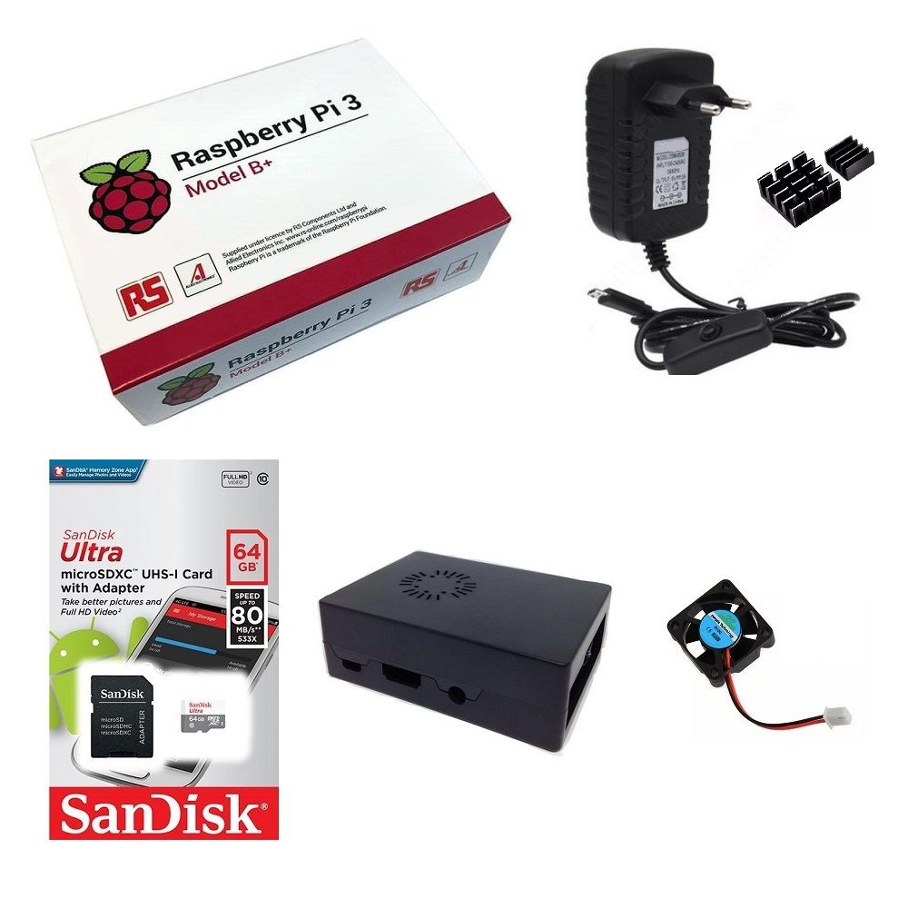 Kit Básico Raspberry Pi 3 B+ Plus - 64gb Case Com Cooler