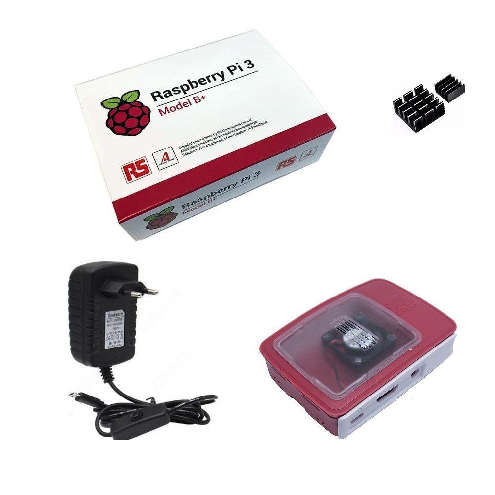 Kit Básico Raspberry Pi 3 B+ Plus - Case Official C/ Cooler