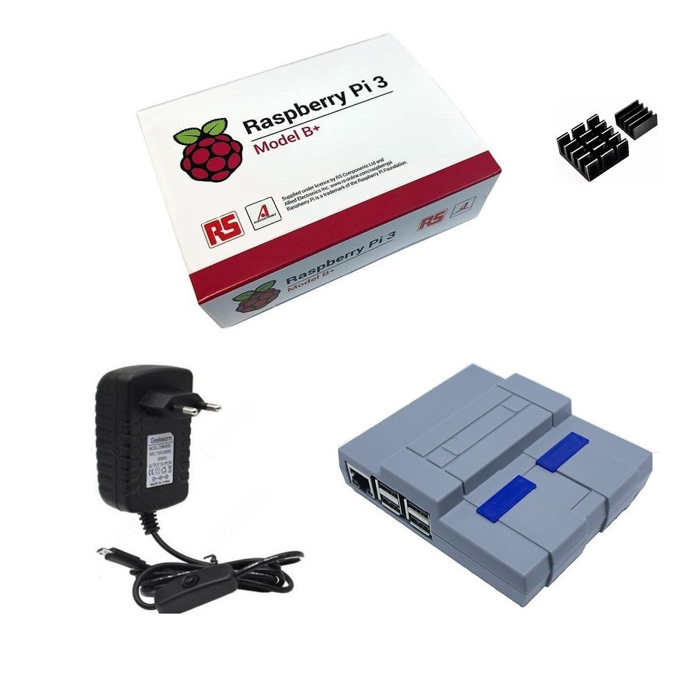 Kit Básico Raspberry Pi 3 B+ Plus - Case Snes