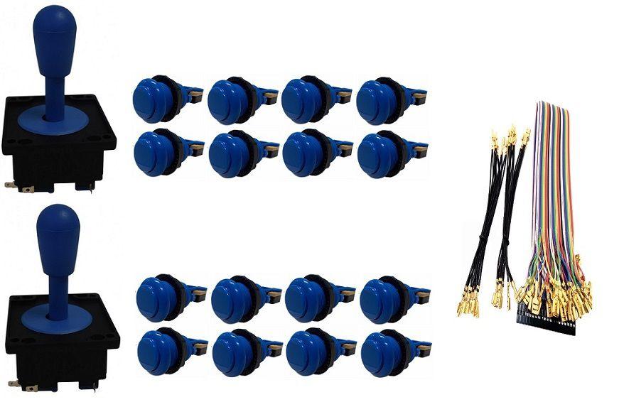 Kit Com 2 Comandos Aegir + 16 Botoes De Nylon + Cabo Gpio Azul