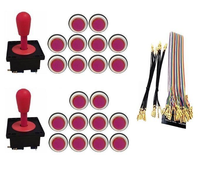 Kit Com 2 Comandos Aegir 20 Botões Corpo Branco e Gpio Rosa
