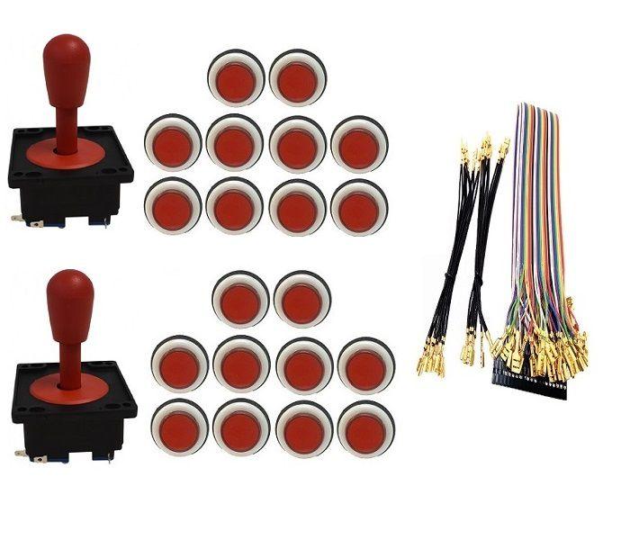 Kit Com 2 Comandos Aegir 20 Botões Corpo Branco e Gpio Vermelho