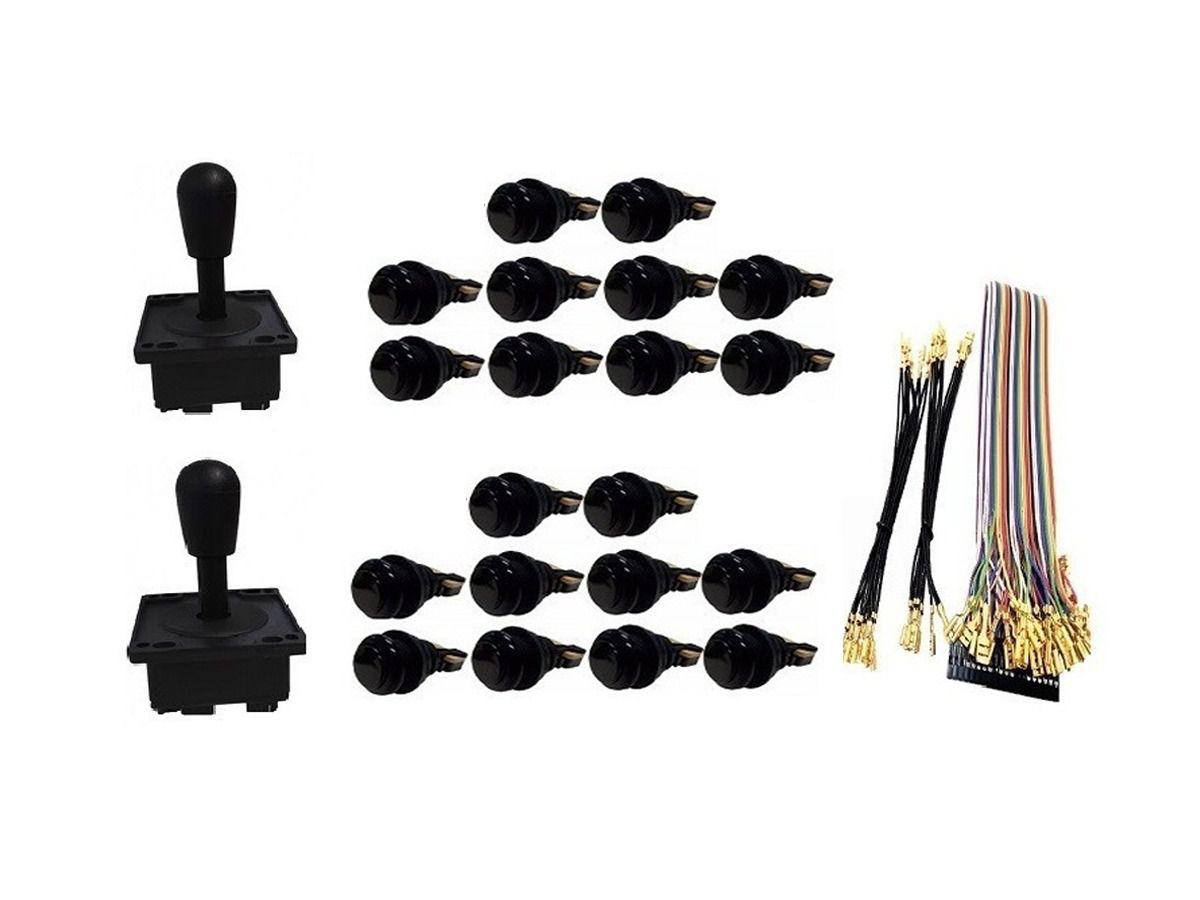 Kit Com 2 Comandos Aegir 20 Botões De Nylon e Cabo Gpio Preto