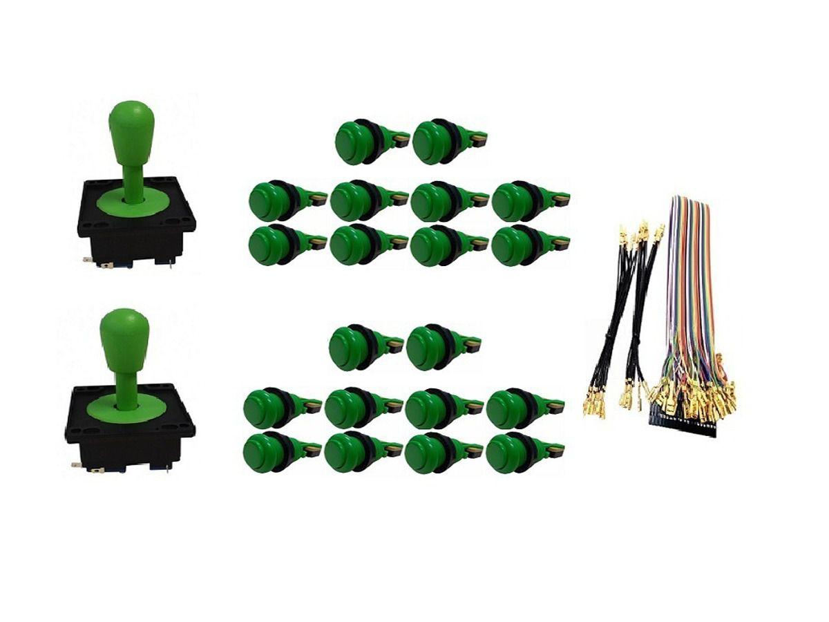 Kit Com 2 Comandos Aegir 20 Botões De Nylon e Cabo Gpio Verde