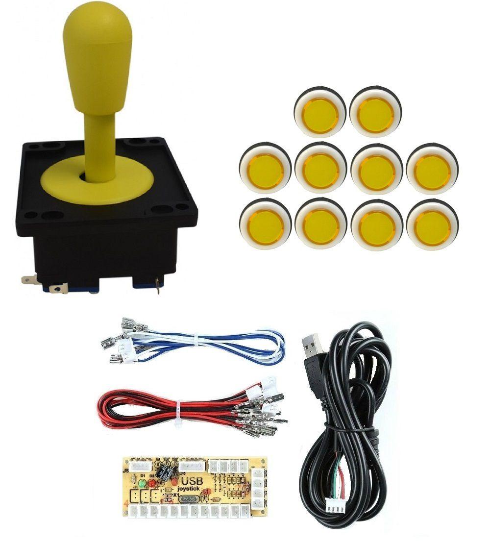 Kit Comando Aegir + 10 Botoes Corpo Branco +placa Zero Delay Amarelo