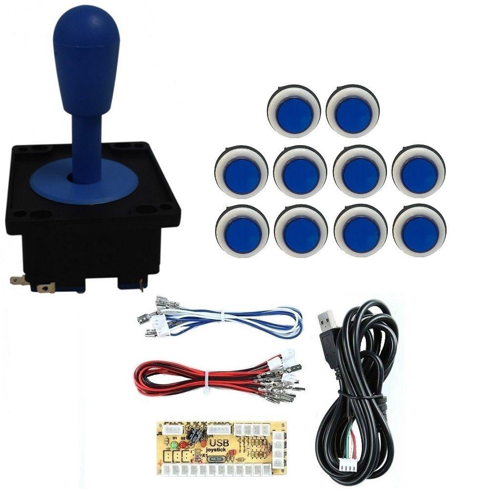 Kit Comando Aegir + 10 Botoes Corpo Branco +placa Zero Delay Azul