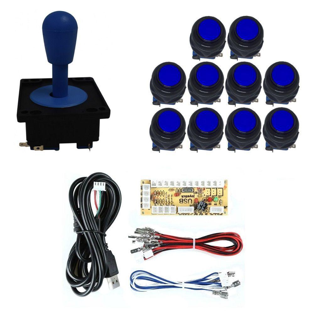 Kit Comando Aegir + 10 Botoes Corpo Preto + Placa Zero Delay - Azul