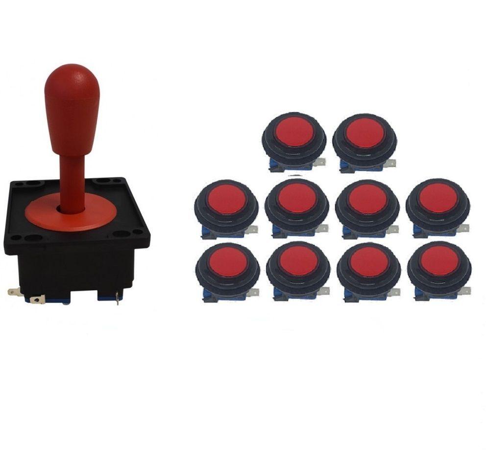 Kit Comando Aegir + 10 Botoes Corpo Preto - Vermelho