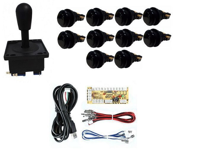 Kit Comando Aegir + 10 Botoes De Nylon + Placa Zero Delay - Preto