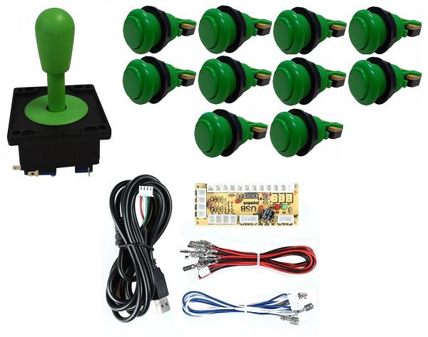 Kit Comando Aegir + 10 Botoes De Nylon + Placa Zero Delay - Verde