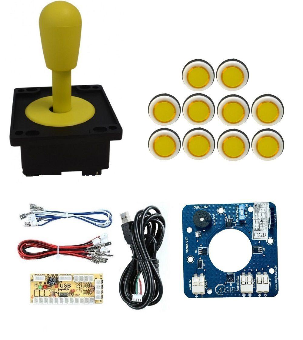 Kit Comando Aegir Magnético + 10 Botoes Corpo Branco +placa Zero Delay