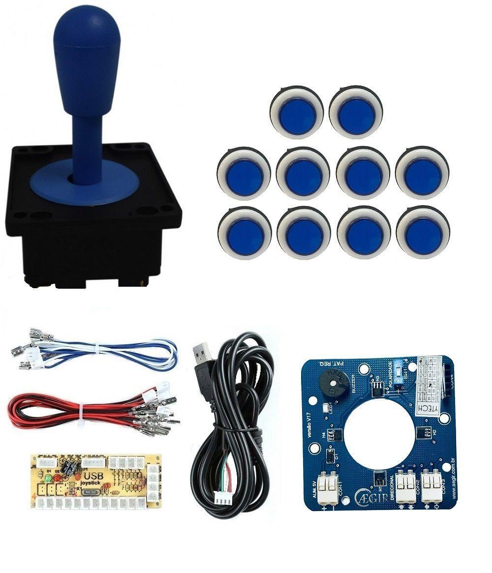 Kit Comando Aegir Magnético + 10 Botoes Corpo Branco +placa Zero Delay - Azul