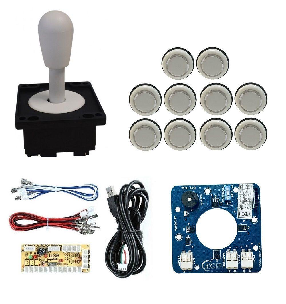 Kit Comando Aegir Magnético + 10 Botoes Corpo Branco +placa Zero Delay - Branco