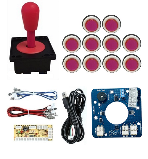 Kit Comando Aegir Magnético + 10 Botoes Corpo Branco +placa Zero Delay - Rosa