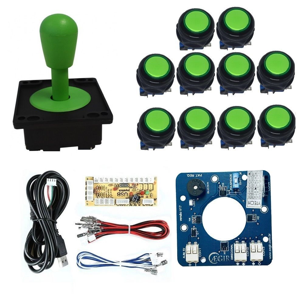 Kit Comando Aegir Magnético + 10 Botoes Corpo Preto + Placa Zero Delay - Verde