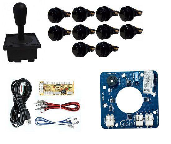 Kit Comando Aegir Magnético + 10 Botoes De Nylon + Placa Zero Delay - Preto