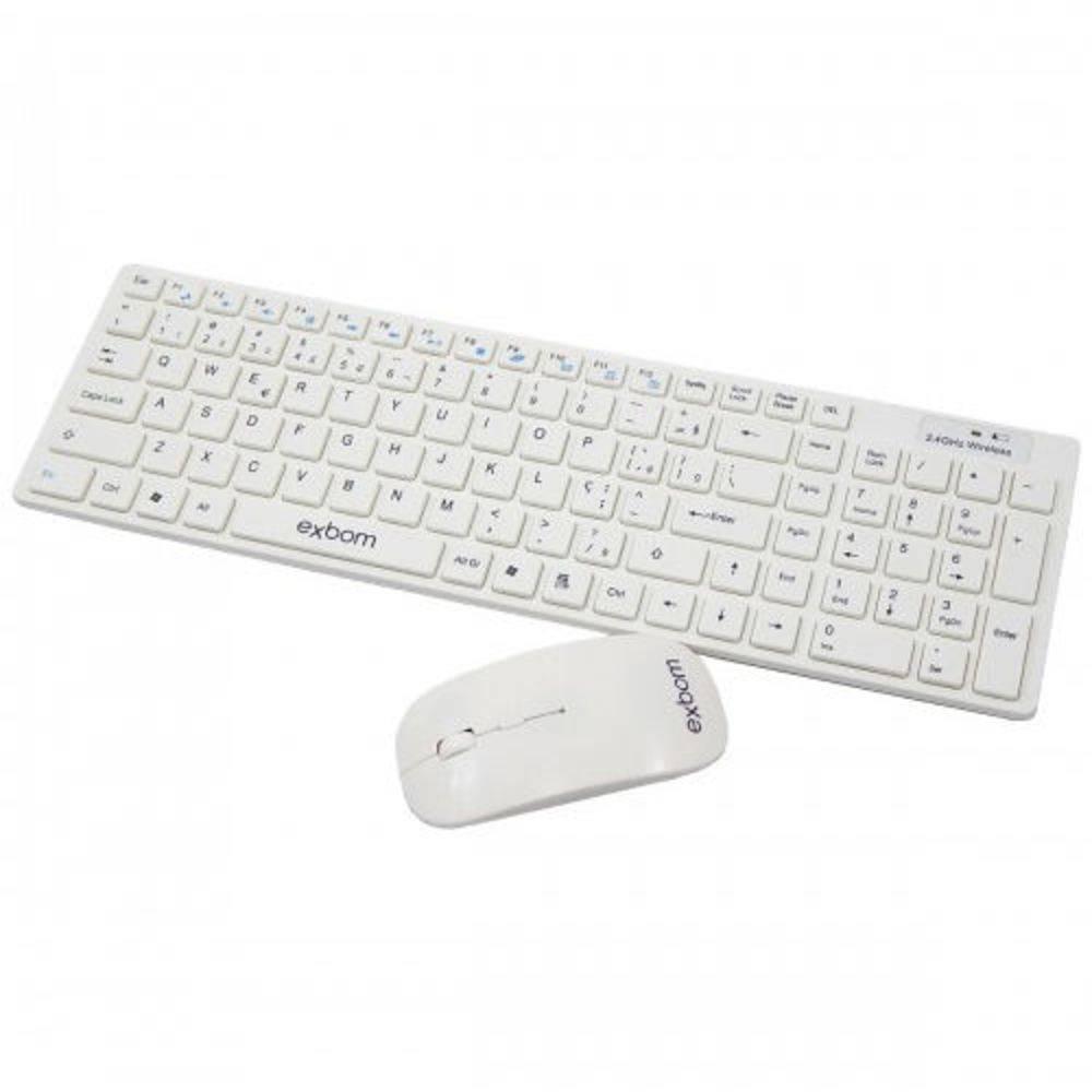 Kit Teclado com Mouse Sem Fio Exbom Bk-S1000 - Branco