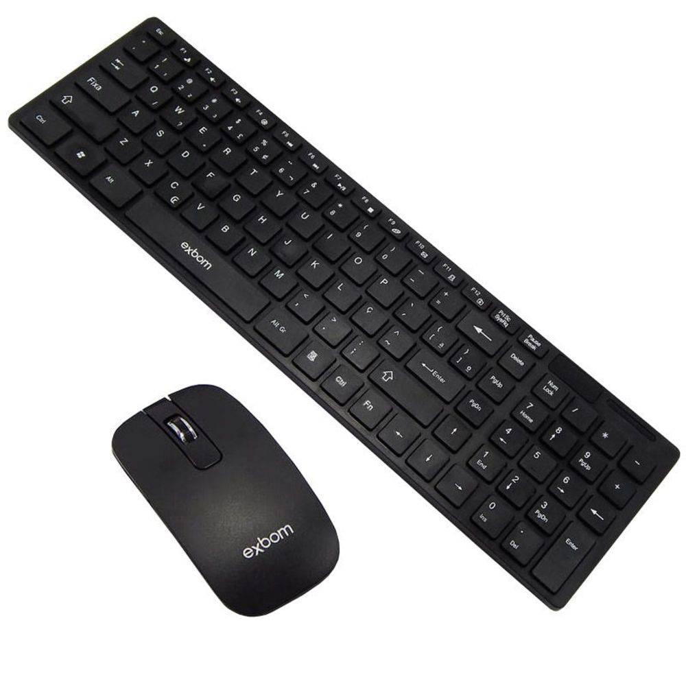 Kit Teclado com Mouse Sem Fio Exbom Bk-S1000 - Preto
